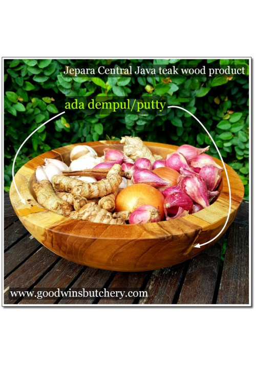 Teak wooden salad / spices bowl SURFACE WITH PUTTY mangkok bumbu / salad kayu jati PERMUKAAN ADA DEMPUL 25x8cm +/-1kg