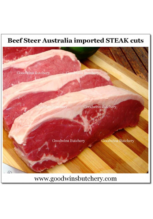 "Beef Sirloin Striploin Australia (S) STEER HARVEY frozen aged STEAK 2cm 3/4"" 4-5pcs/kg"
