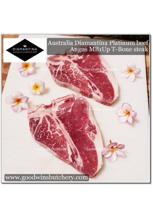 "Beef rib Porterhouse T BONE Angus marbling 1Up Australia Diamantina platinum STEAK 3/4"" 2cm apx 2 pcs/kg (price/kg)"
