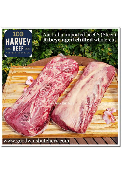 "Beef Cuberoll / Scotch Fillet / Ribeye AUSTRALIA ""S' (Steer young cattle) aged chilled whole cut HARVEY apx 4.5kg (price/kg) TRIAL PRE-ORDER 1-2 days notice"