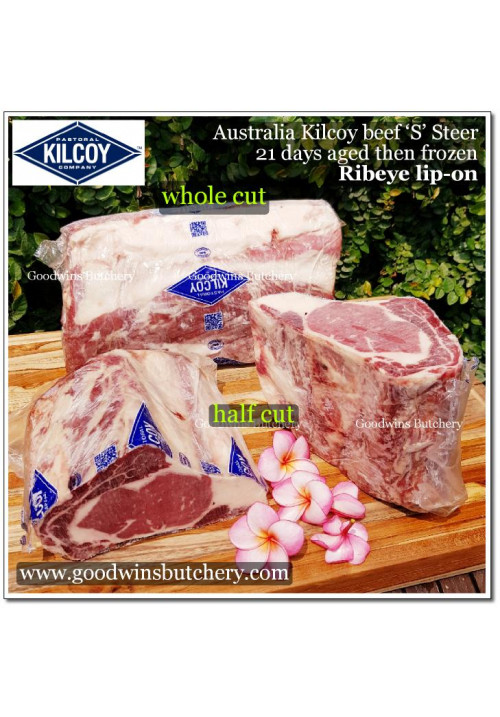 Beef Cuberoll Scotch Fillet Ribeye lip-on STEER Australia Kilcoy frozen aged HALF CUT +/-2kg