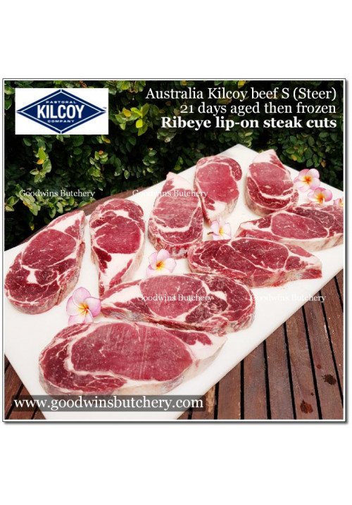 "Beef Cuberoll / Scotch Fillet / Ribeye LIP-ON AUSTRALIA ""S"" (Steer young cattle) KILCOY aged steak thin cut schnitzel 3/8"" (price/700gr 3pcs)"