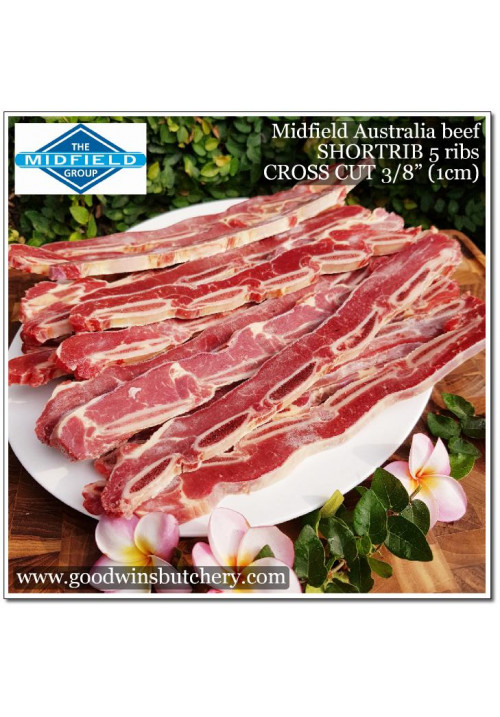 "Beef rib/bone SHORT RIB 4-5 RIBS CROSS CUT 3/8"" (1cm) Midfield Australia"