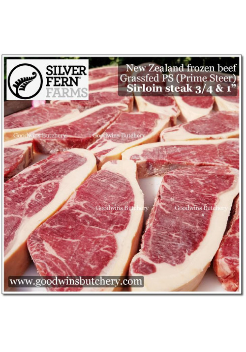 "Beef Sirloin Striploin (PS) PRIME STEER GRASS FED New Zealand Silver Fern frozen aged STEAK 2.5cm 1"" 3-4pcs/kg"