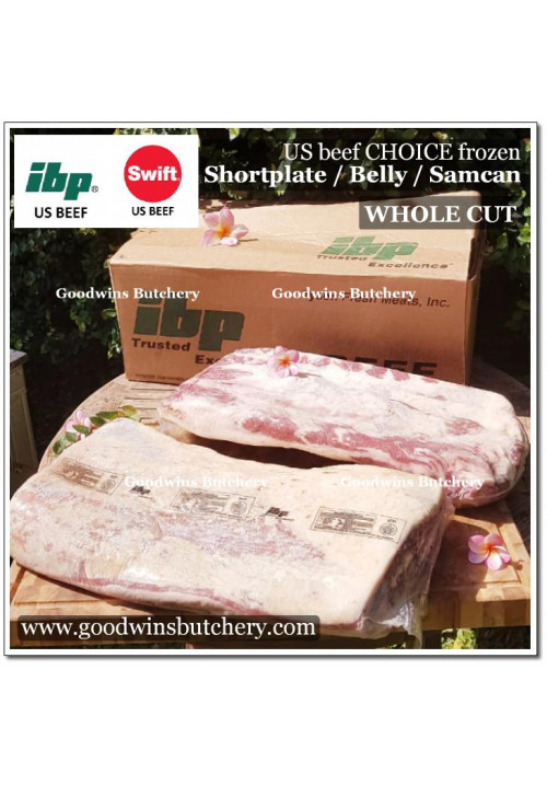 Beef belly samcan SHORT PLATE USDA choice IBP WHOLE CUT apx 6kg (price/kg)