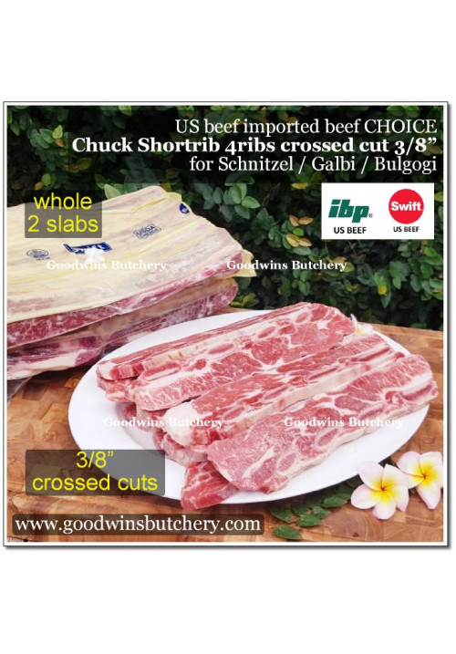 "Beef rib shortrib chuck 4ribs USDA choice Swift CROSSED CUT SCHNITZEL 3/8"" for Galbi Bulgogi Tepanyaki apx 1.1kg (price/kg)"