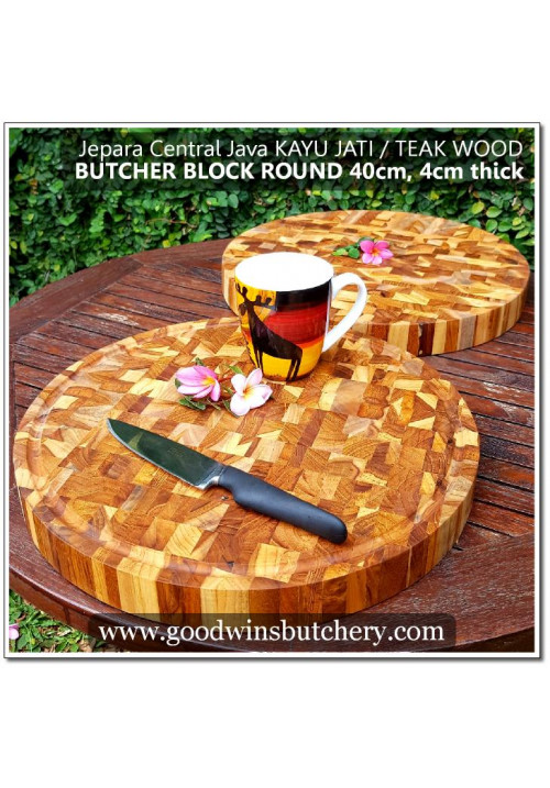 Cutting board teak wood - talenan kayu jati BUTCHER BLOCK ROUND 40x4cm +/- 3.5kg made in Jepara Central Java, utube video available