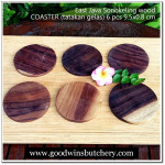 Wooden GLASS COASTER SET (tatakan gelas) 6 pcs Sonokeling wood