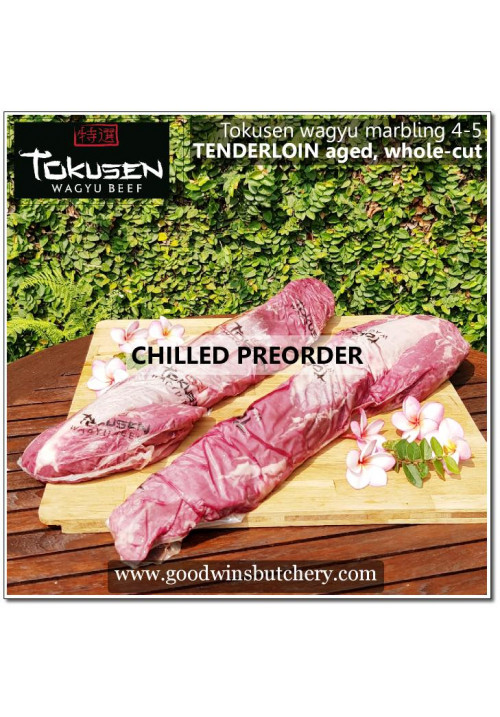 Beef eye fillet / tenderloin / has dalam - wagyu Tokusen mbs 4-5 - AGED CHILLED WHOLE-CUT (PRE-ORDER)