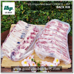 Beef rib iga sapi BACK RIB U.S choice Swift / IBP whole 6-7 ribs apx 1.5kg